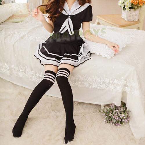 黑白條紋女學生中筒襪(女襪-大腿襪)日系原宿海軍風