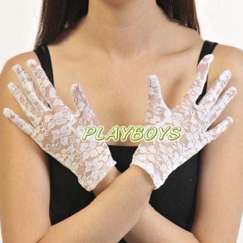 全罩蕾絲花紋手套(白)-短