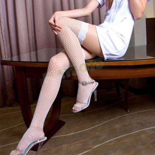 蕾絲邊性感中網襪(大腿襪)白色
