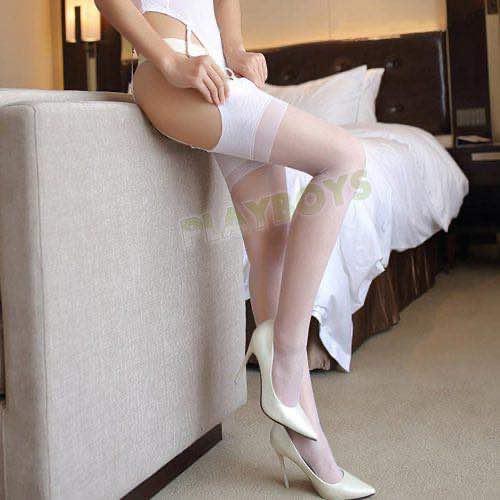 復古情調絲柔大腿襪(白)