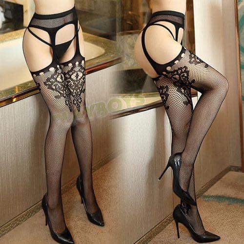 倩麗魅影蕾絲吊帶連褲網襪