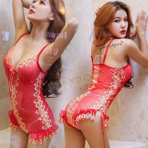 桃色豔情 透視刺繡蕾絲連身服