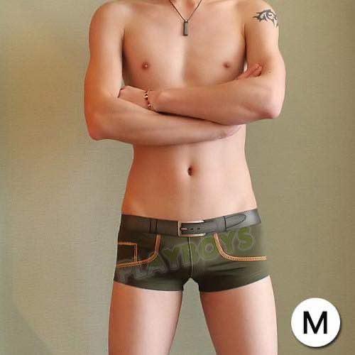 趣味紳士皮帶造型平角褲(軍綠)-M