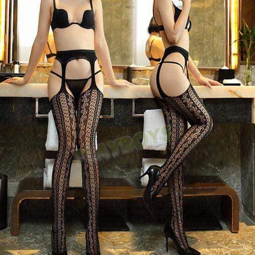 炫麗魅影蕾絲吊帶連褲網襪