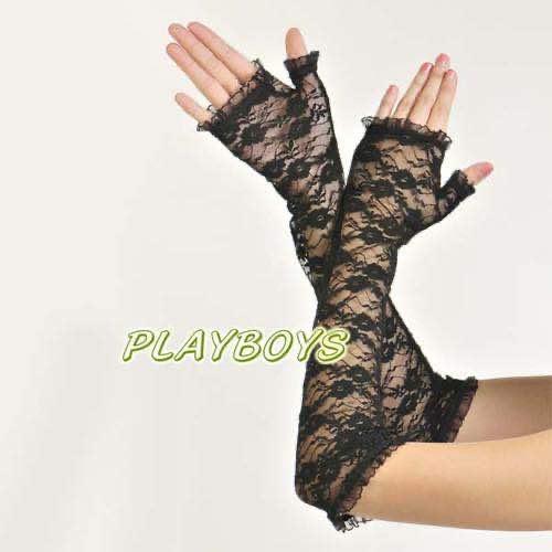 開指蕾絲花紋手套(黑)-長