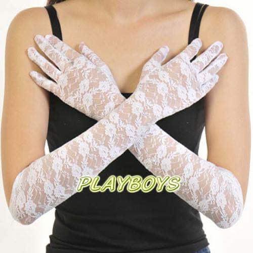 全罩蕾絲花紋手套(白)-長