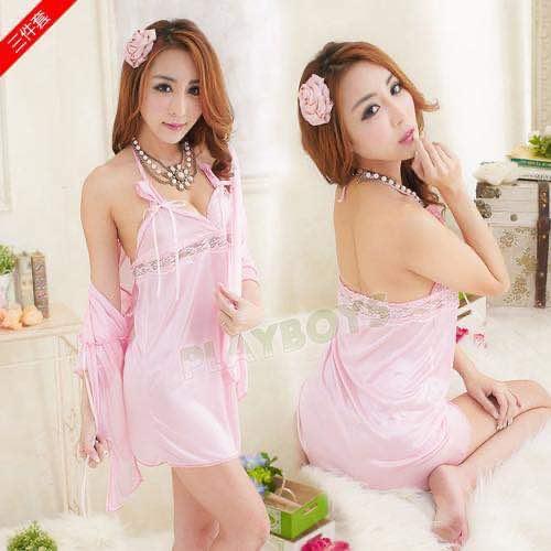 粉色迷情 情趣睡衣 | 三件套設計:罩衫+丁字褲+吊帶裙