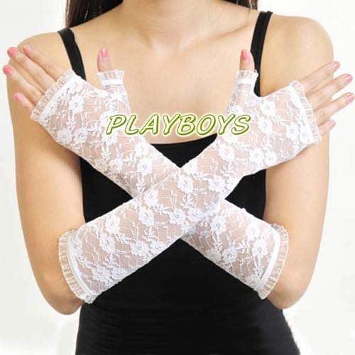 開指蕾絲花紋手套(白)