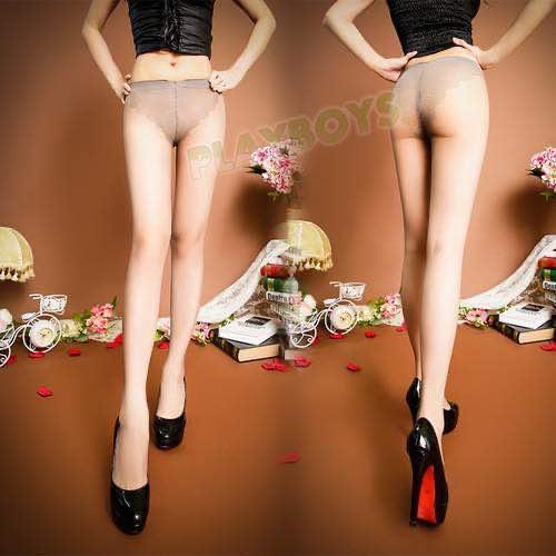 性感美腿透視包芯絲連體襪(灰色)