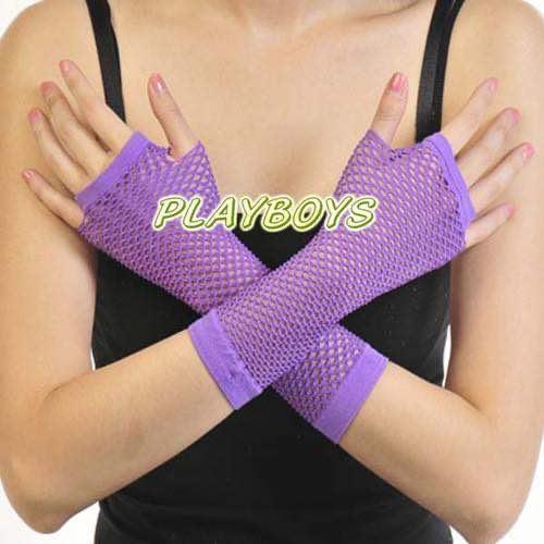 開指網狀手套(紫)