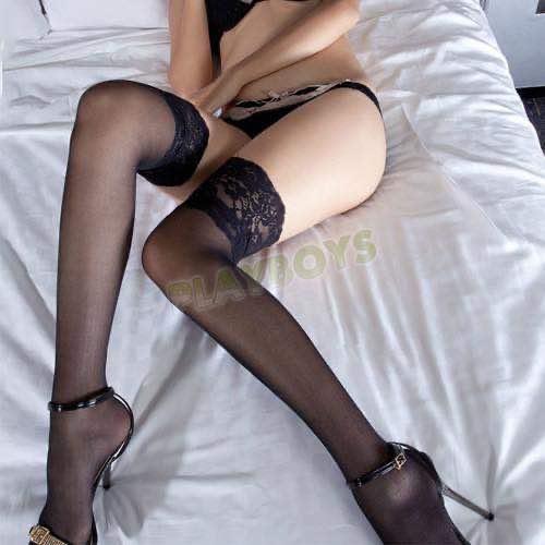 蕾絲花邊性感大腿絲襪(黑色)