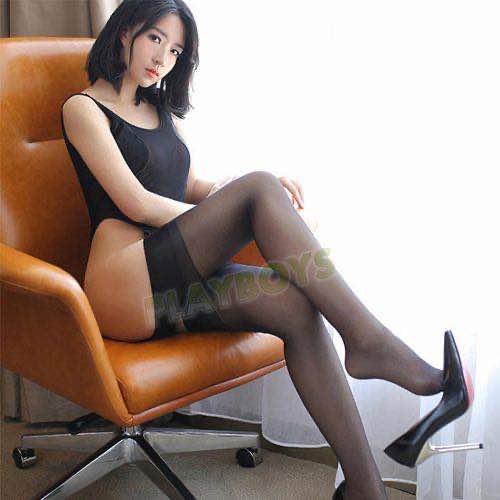 復古情調絲柔大腿襪(黑)