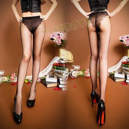 性感美腿透視包芯絲連體襪(黑色)