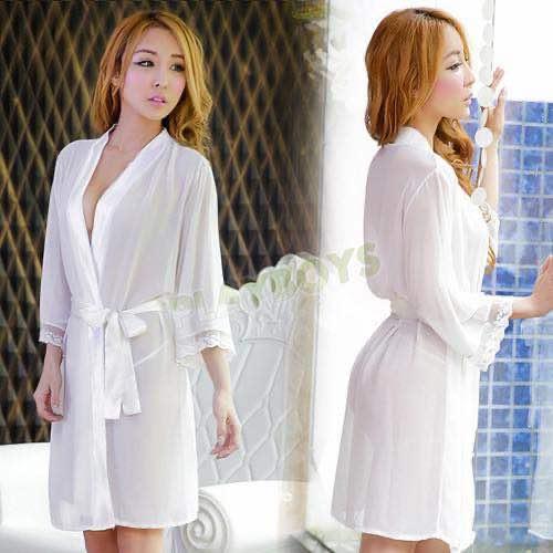 艷降尤物絲滑袍衣(白)