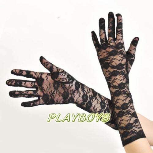 全罩蕾絲花紋手套(黑)