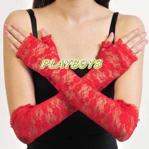 開指蕾絲花紋手套(紅)-長