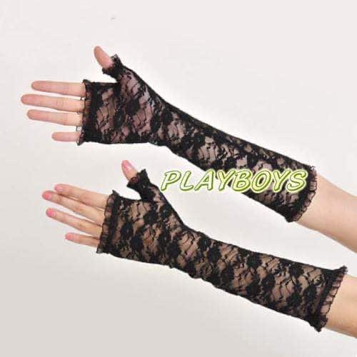 開指蕾絲花紋手套(黑)