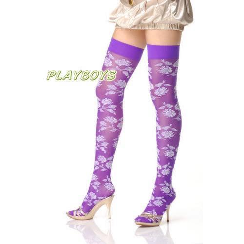 紫白搭配 薄薄朦朧 時尚潮流-大腿襪