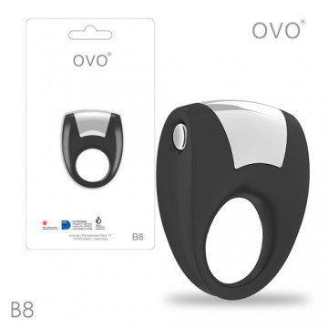德國OVO-B8 前衛男性 矽膠靜音時尚震動環-黑色