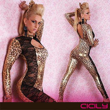 虐戀精品CICILY-狂野小野豹  塗膠仿皮性感彈力連體緊身衣