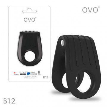 德國OVO-B12 前衛男性 矽膠靜音時尚震動環-黑色