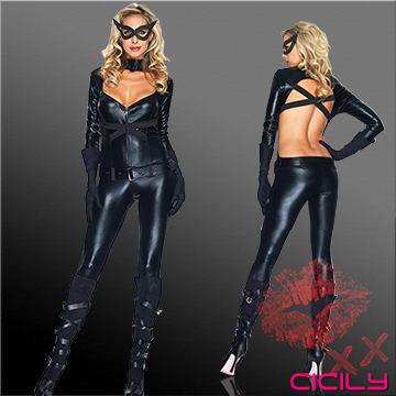 虐戀精品CICILY-蝙蝠女郎 塗膠仿皮性感彈力連體緊身衣