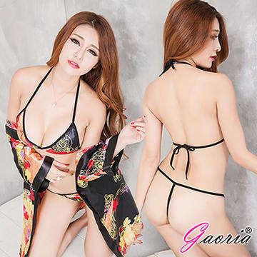 【Gaoria】甜香櫻花妹 誘惑和服式浴袍 性感情趣睡衣 黑