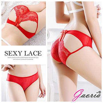 【Gaoria】禁忌薔薇 透明蕾絲冰絲 性感內褲三角褲 紅