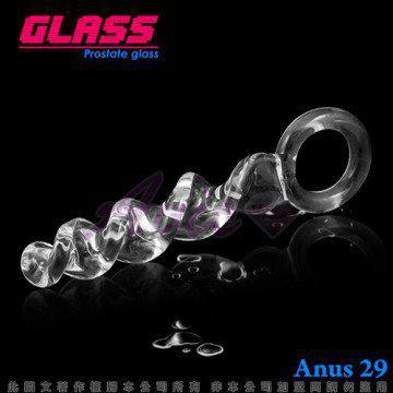 GLASS-蕩漾春心-玻璃水晶 通體螺旋式後庭冰火棒(Anus 29)
