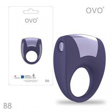 德國OVO-B8 前衛男性 矽膠靜音時尚震動環-酷淡紫色