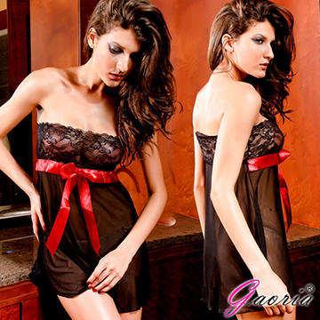 【Gaoria】飛進你心 抹胸蕾絲大紅蝴蝶 性感網紗 睡裙 情趣內衣 情趣睡衣