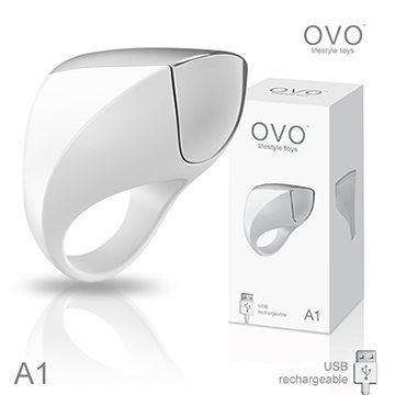 德國OVO A1 時尚男性 矽膠靜音時尚震動環 充電式 白色
