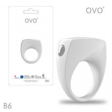 德國OVO-B6 前衛男性 矽膠靜音時尚震動環-白色