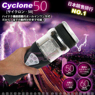 日本對子哈特(Toys Heart)-CYCLONE 50 暴風充電式50種旋轉模式超高速迴轉旋風機(黑)