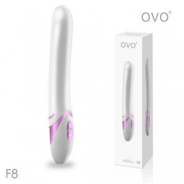 德國OVO-F8 萊恩 5段變頻 多功能 G點震動按摩棒-白粉色