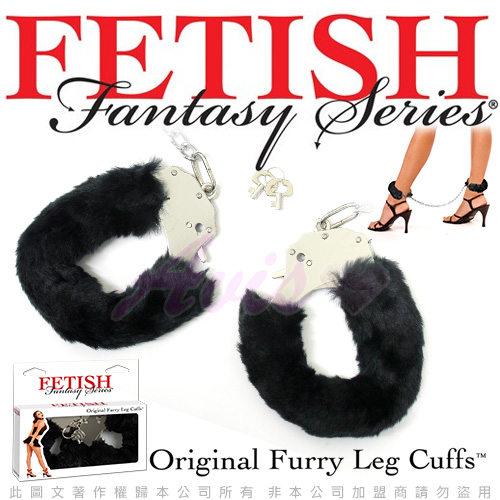 美國FETISH-Original Furry Leg Cuffs-SM彩色絨毛金屬腳銬-黑