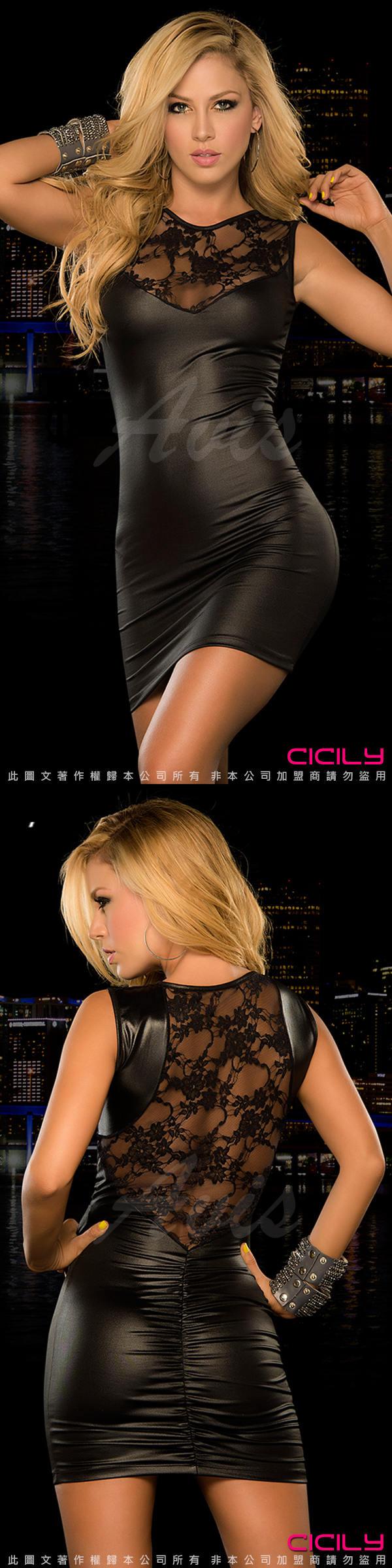 虐戀精品CICILY-高貴典雅 網紗美背 塗膠漆皮性感彈力緊身裙-黑