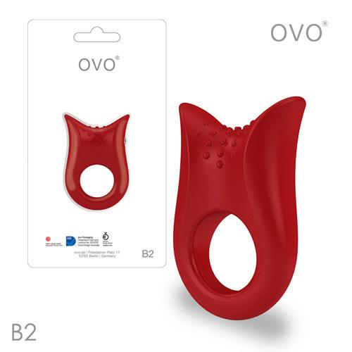 德國OVO-B2 前衛男性 矽膠靜音時尚震動環-紅色