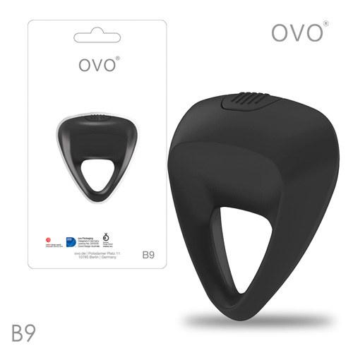 德國OVO-B9 前衛男性 矽膠靜音時尚震動環-黑色
