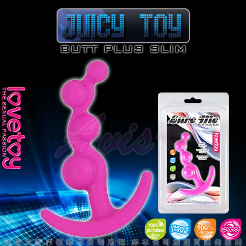 JUICY TOY-四連環泡 柔細材質後庭拉珠棒-桃紅