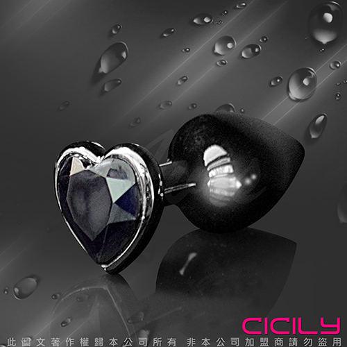 CICILY 後庭心型 金屬寶石後庭塞 黑寶石