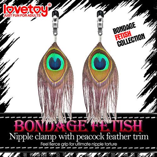 Lovetoy BONDAGE FETISH 虐戀系列-孔雀翎耳環式性感乳夾