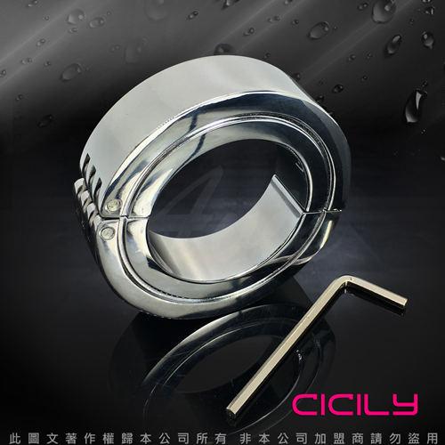 虐戀精品CICILY不鏽鋼負重鎖精陽具環
