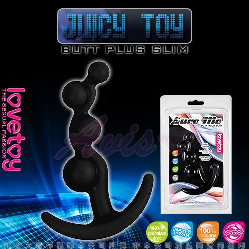 JUICY TOY-四連環泡 柔細材質後庭拉珠棒-黑