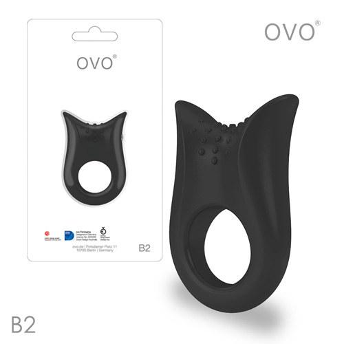 德國OVO-B2 前衛男性 矽膠靜音時尚震動環-黑色