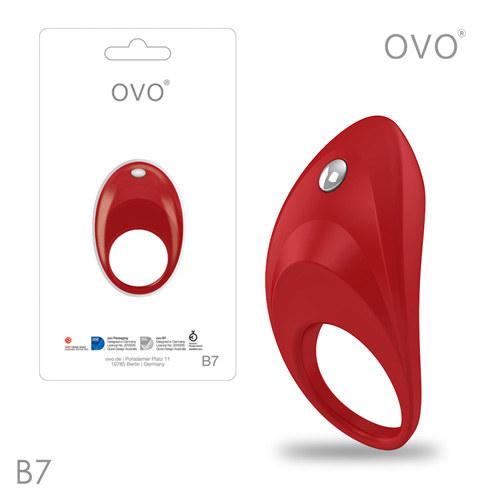 德國OVO-B7 前衛男性 矽膠靜音時尚震動環-紅色