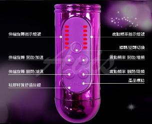 蓮動巧蝶 288段變頻式正逆轉膨脹伸縮USB充電轉珠棒 電鍍紫